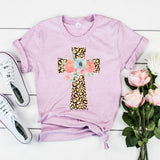 Leopard Floral Cross Shirt Cute Christian Easter Shirt for Women Leopard Print Shirt Cheetah Print Shirt Floral Cross Shirt
