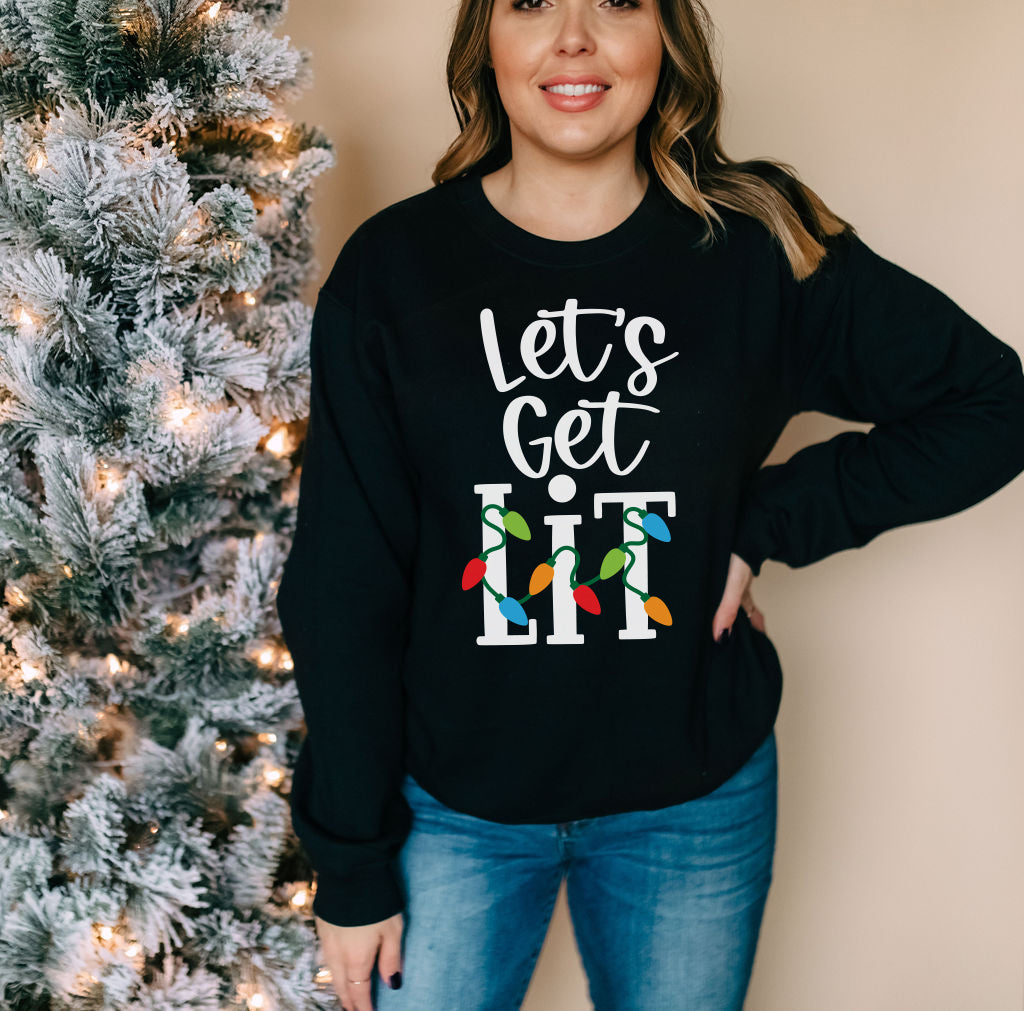 Let's Get Lit Christmas Sweatshirt - Holiday Sweater - Funny Christmas Lights Sweatshirt for Women