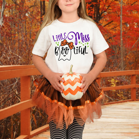 Little Miss Boo Tiful Girls Halloween Shirt