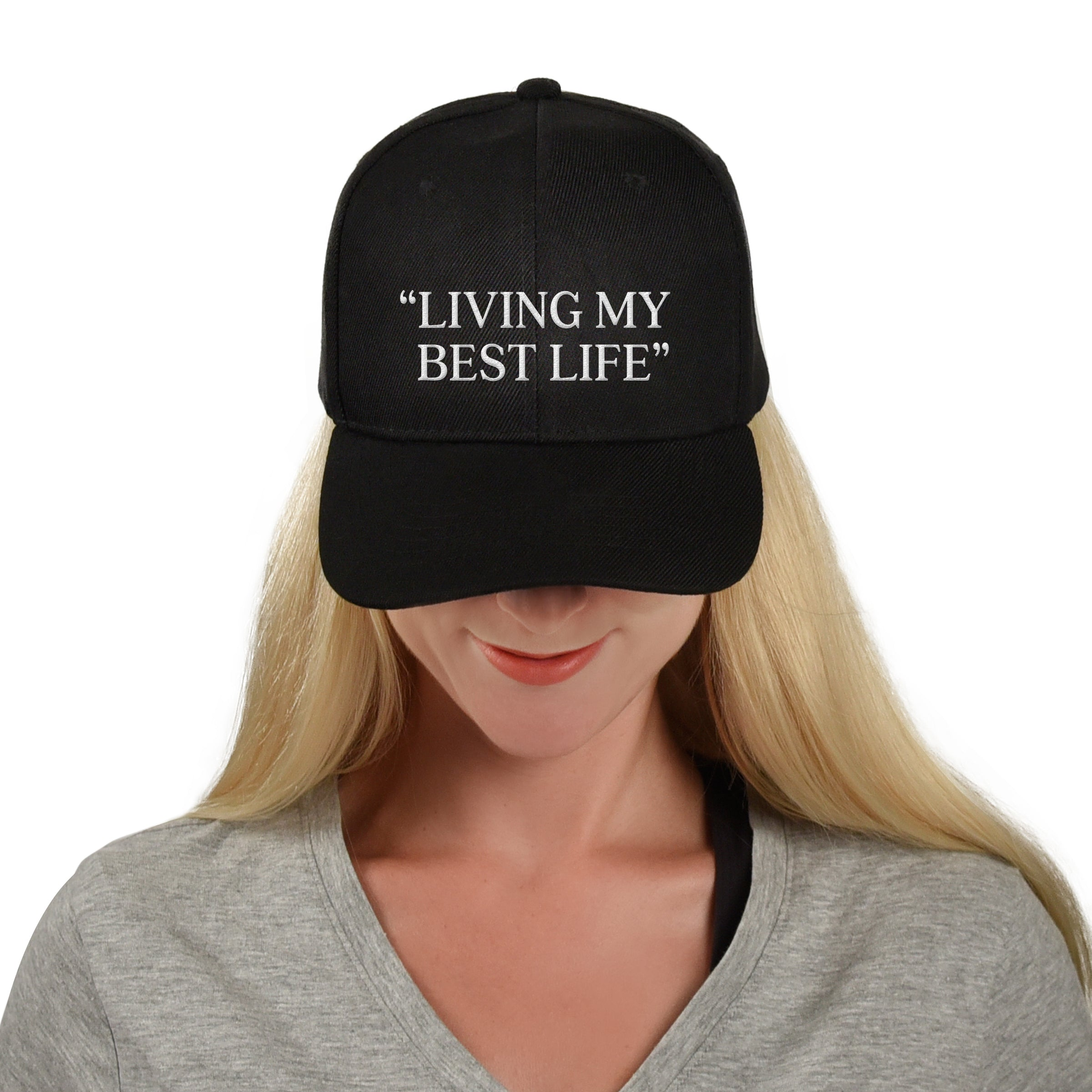 Living My Best Life Hat Structured Twill Cap Cute Funny Hat Inspirational Positivity Hat Baseball Cap