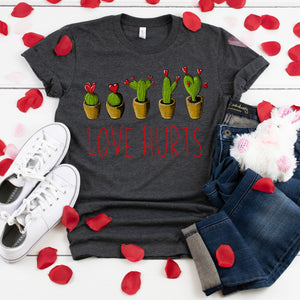 Love Hurts Heart Cactus Shirt Cute Funny Valentine's Day Pun Shirt for Women Valentine T-Shirt Valentine's Day Outfit Single Awareness Day Shirt