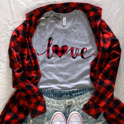 Red Buffalo Plaid Love Heart Shirt Cute Valentine's Day Shirt for Women