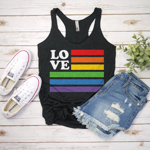 Love Rainbow Pride Flag Tank Top Pride Shirts for Women Cute Pride Outfit Gay Pride LGBT LGBTQ Shirts for Pride Parade