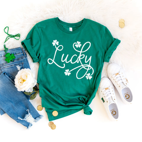 Lucky St. Patrick's Day Shirt Cute St. Paddy's Day Shirt Shamrock Shirt Green St. Patrick's Day Shirt for Women