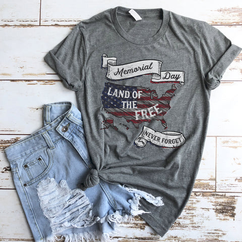 Memorial Day Shirt Land of the Free Shirt Never Forget Shirt Patriotic USA America Shirt for Women and Men American Flag Shirt