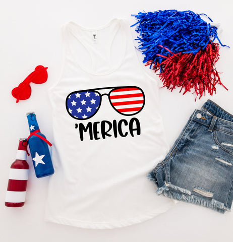 Merica Sunglasses Tank Top - 4th of July Tank Top - Fourth of July Shirt - Independence Day Shirt - American Flag Sunglasses Shirt