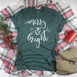Merry and Bright Christmas Shirt Cute Christmas T-Shirt Christmas Outfit