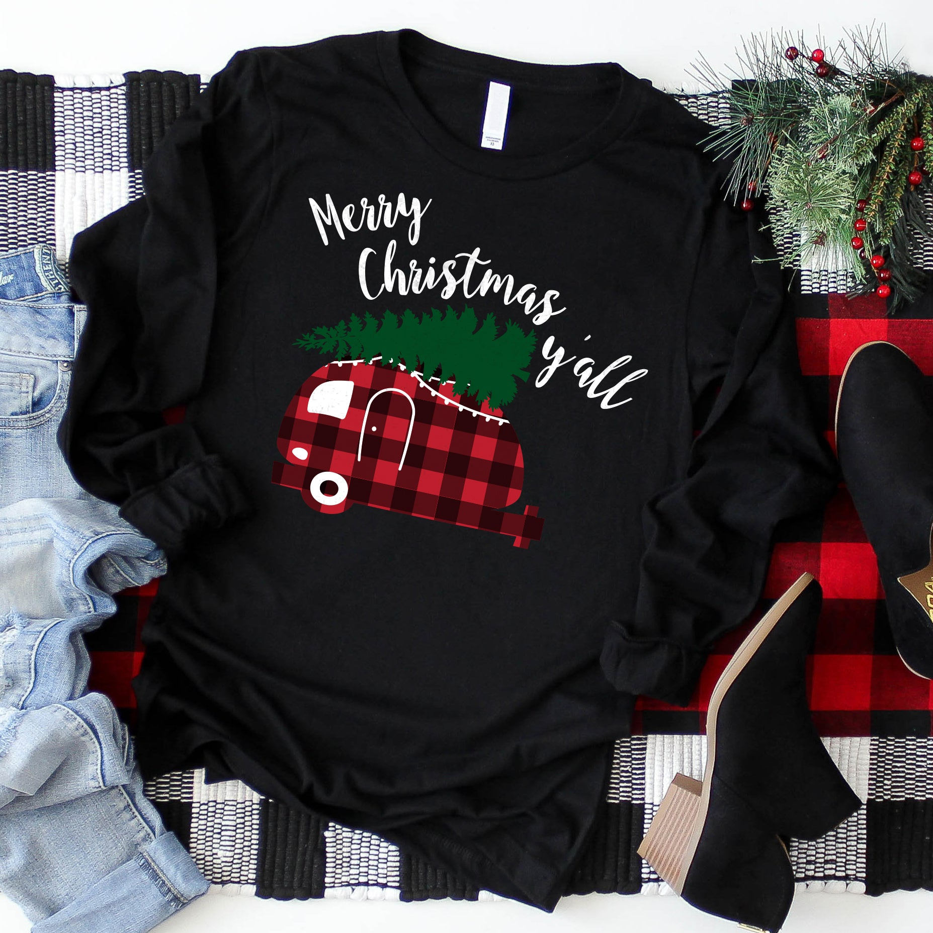 Merry Christmas Y'all Shirt Christmas Camper Shirt Cute Long Sleeve Christmas Shirt Christmas Outfit Red Plaid Shirt Christmas Tree on Car Shirt