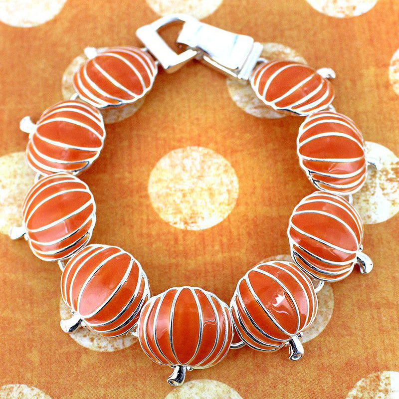 Fall Pumpkins Magnetic Bracelet - Pumpkin Bracelet - Halloween Bracelet - Fall Jewelry