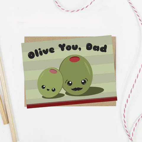 Olive You Dad Card