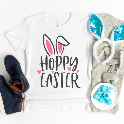 Hoppy Easter Bunny Ears Children's Shirt - Happy Easter Shirt for Kids - Easter Shirt for Girls - Cute Easter Bunny Shirt
