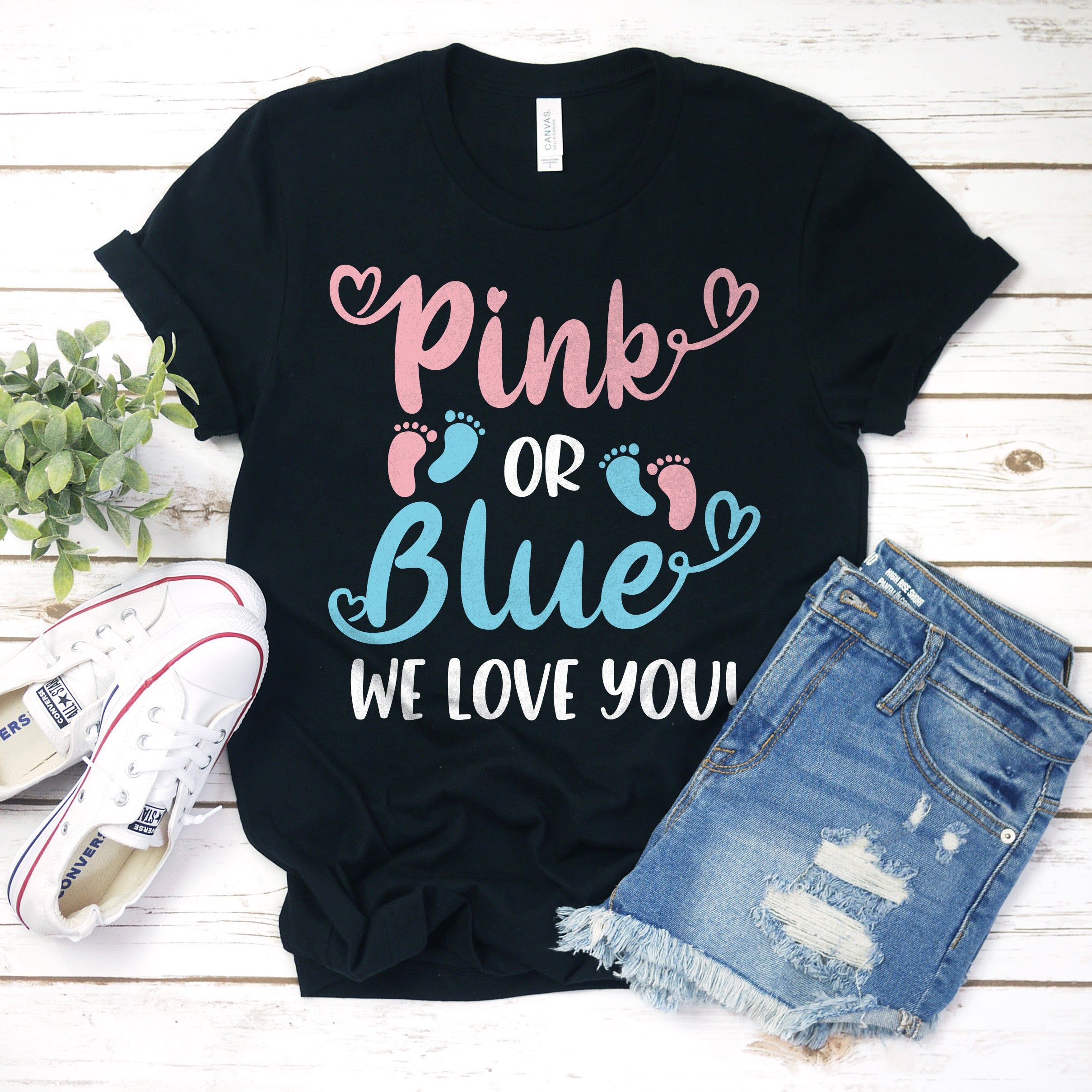 Pink or Blue We Love You Gender Reveal Shirt - Pink or Blue Shirt - Gender Reveal Party Shirt