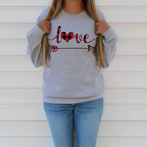 Red Buffalo Plaid Love Heart and Arrow Sweatshirt Cute Valentine's Day Shirt for Women Valentine Sweater