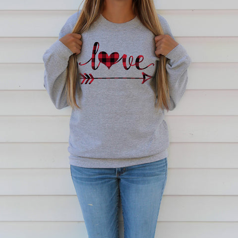 Plaid Love Heart and Arrow Valentine Sweatshirt