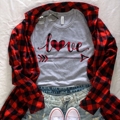 Red Buffalo Plaid Love Heart and Arrow Shirt Cute Valentine's Day Shirt for Women