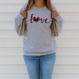 Red Buffalo Plaid Love Heart Sweatshirt Cute Valentine's Day Shirt for Women Valentine Sweater