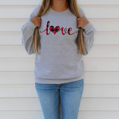 Plaid Love Heart Valentine Sweatshirt