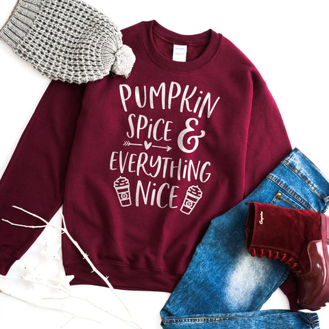 Pumpkin Spice and Everything Nice Sweatshirt Pumpkin Spice Shirt Pumpkin Spice Lover Sweatshirt PSL Sweatshirt Fall Sweatshirt Fall Sweater