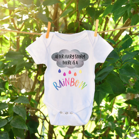 After Every Storm There is a Rainbow Baby Bodysuit Rainbow Baby Pregnancy Announcement Miracle Baby One Piece