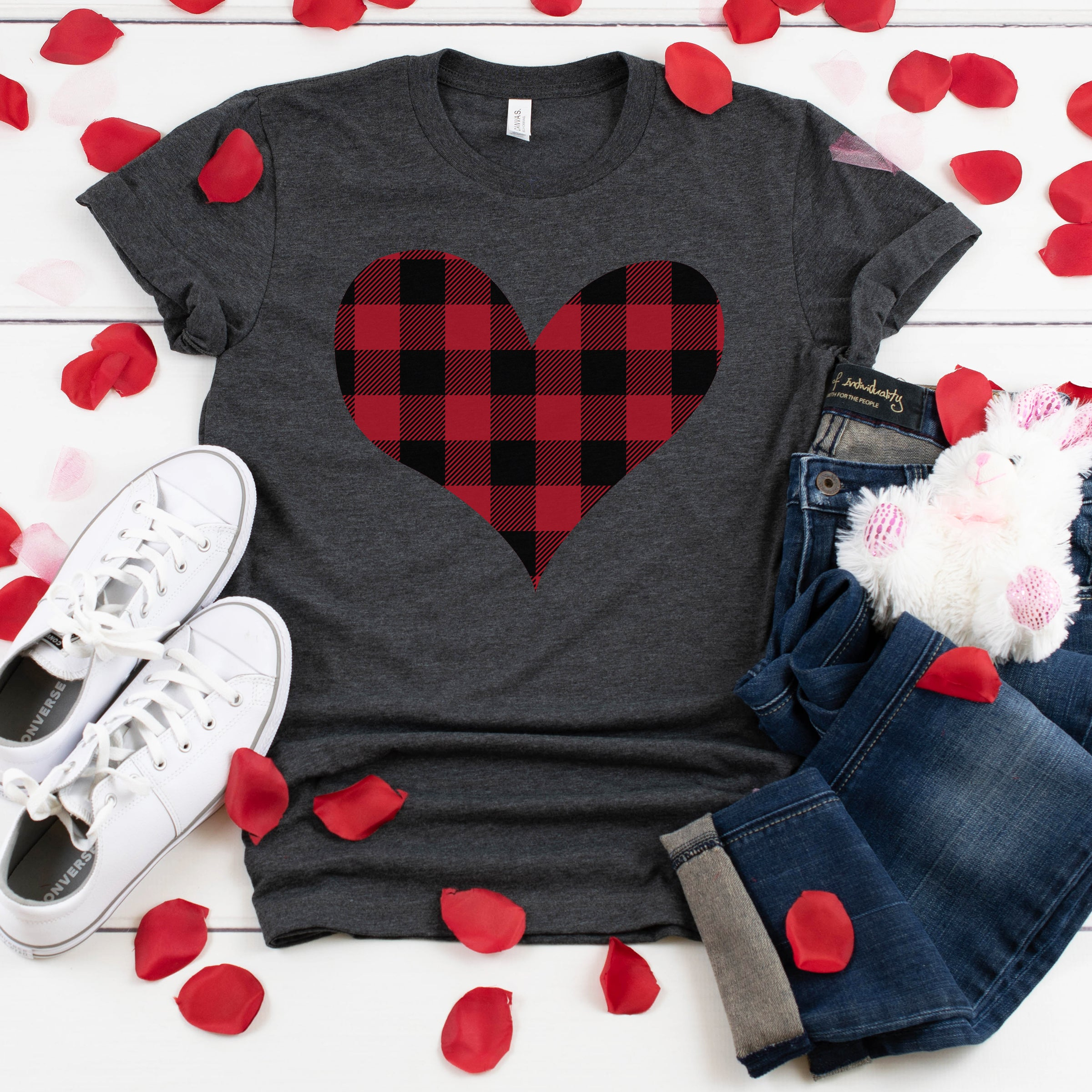 Red Buffalo Plaid Heart Shirt Cute Valentine's Day Shirt for Women