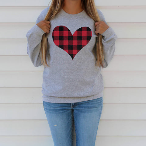 Plaid Heart Valentine Sweatshirt