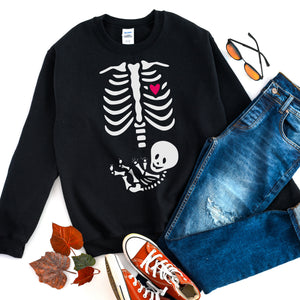 Halloween Pregnancy Sweatshirt Skeleton Baby Shirt Pregnancy Halloween Costume Halloween Maternity