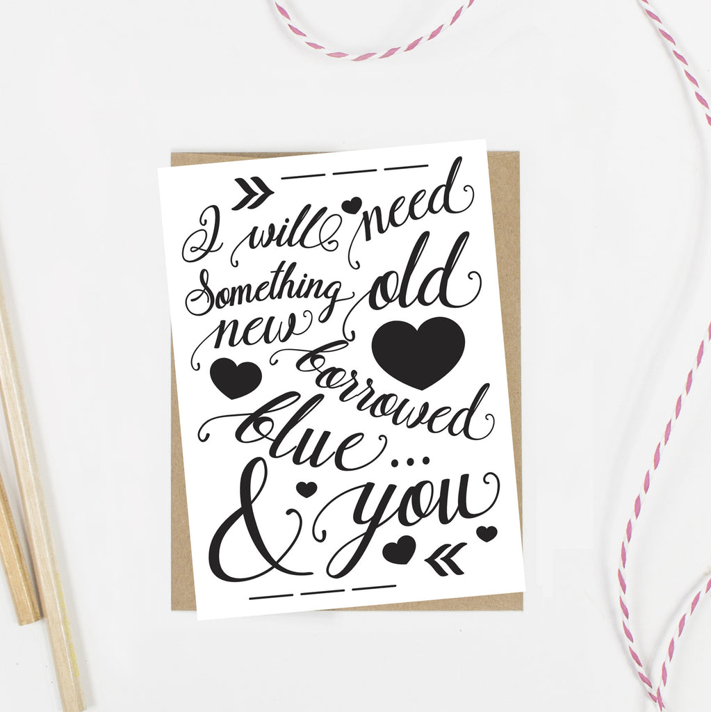 Something Old New Borrowed Blue Junior Bridesmaid Card