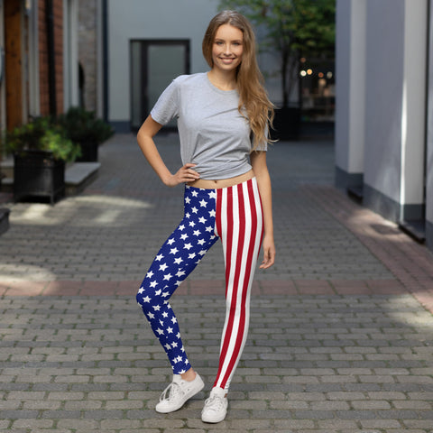 Stars and Stripes Patriotic USA Leggings American Flag Leggings Fourth of July Pants 4th of July Leggings Capris Yoga Pants Shorts Red White and Blue Leggings