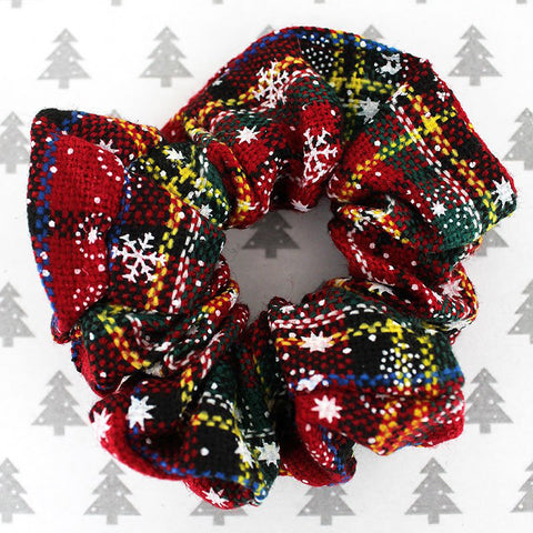 Tis the Season Plaid Hair Scrunchie - Christmas Hair Scrunchie - Christmas Hair Accessories for Women