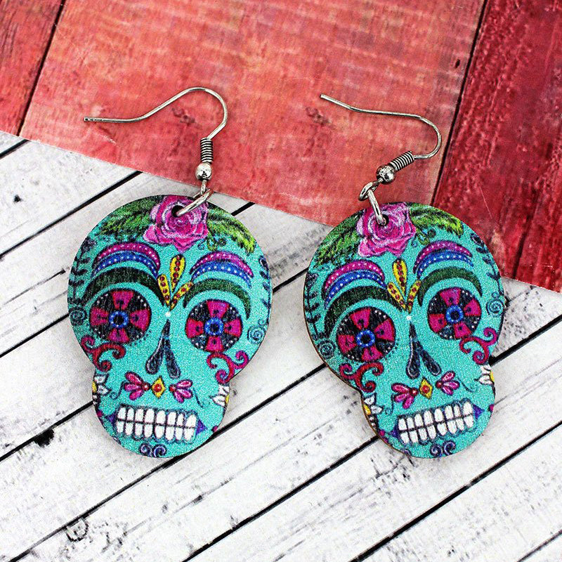 Sugar Skull Wood Earrings - Halloween Earrings - Dia de los Muertos Earrings - Day of the Dead Earrings