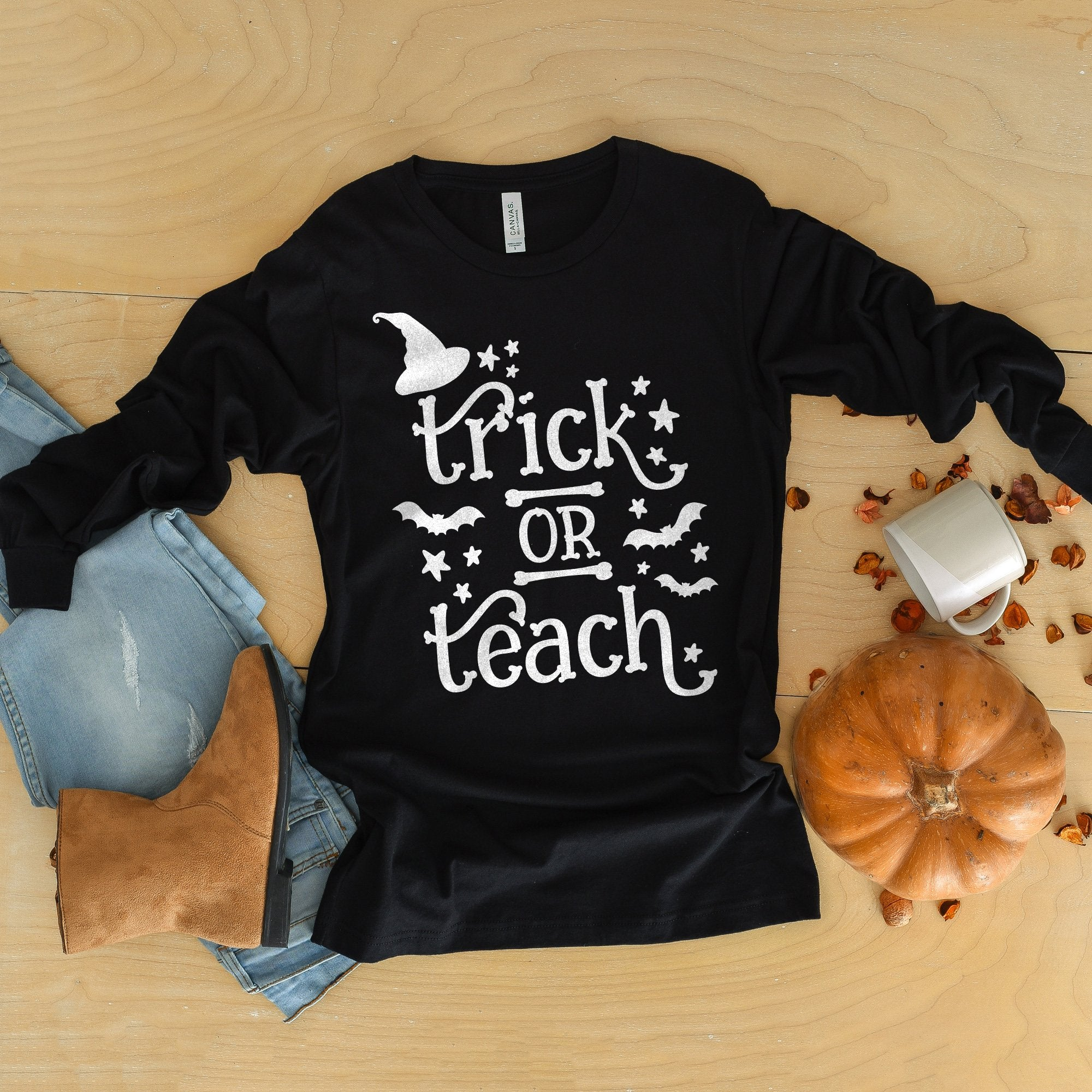 Trick or Teach Halloween Shirt Long Sleeve Shirt Halloween Teacher Shirt Cute Teacher Halloween Shirt