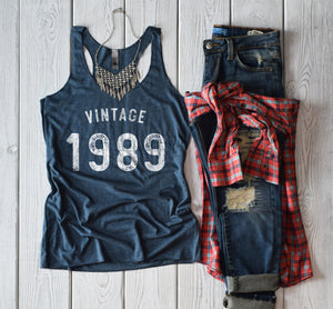 Vintage 1989 30th Birthday Shirt Tank Top Dirty Thirty Shirt Cute Funny 30th Birthday Shirt Birthday Party Shirt