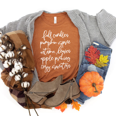 Fall Candles Pumpkin Spice Shirt - Autumn Leaves Apple Picking Cozy Sweaters Shirt - Fall Shirt for Women