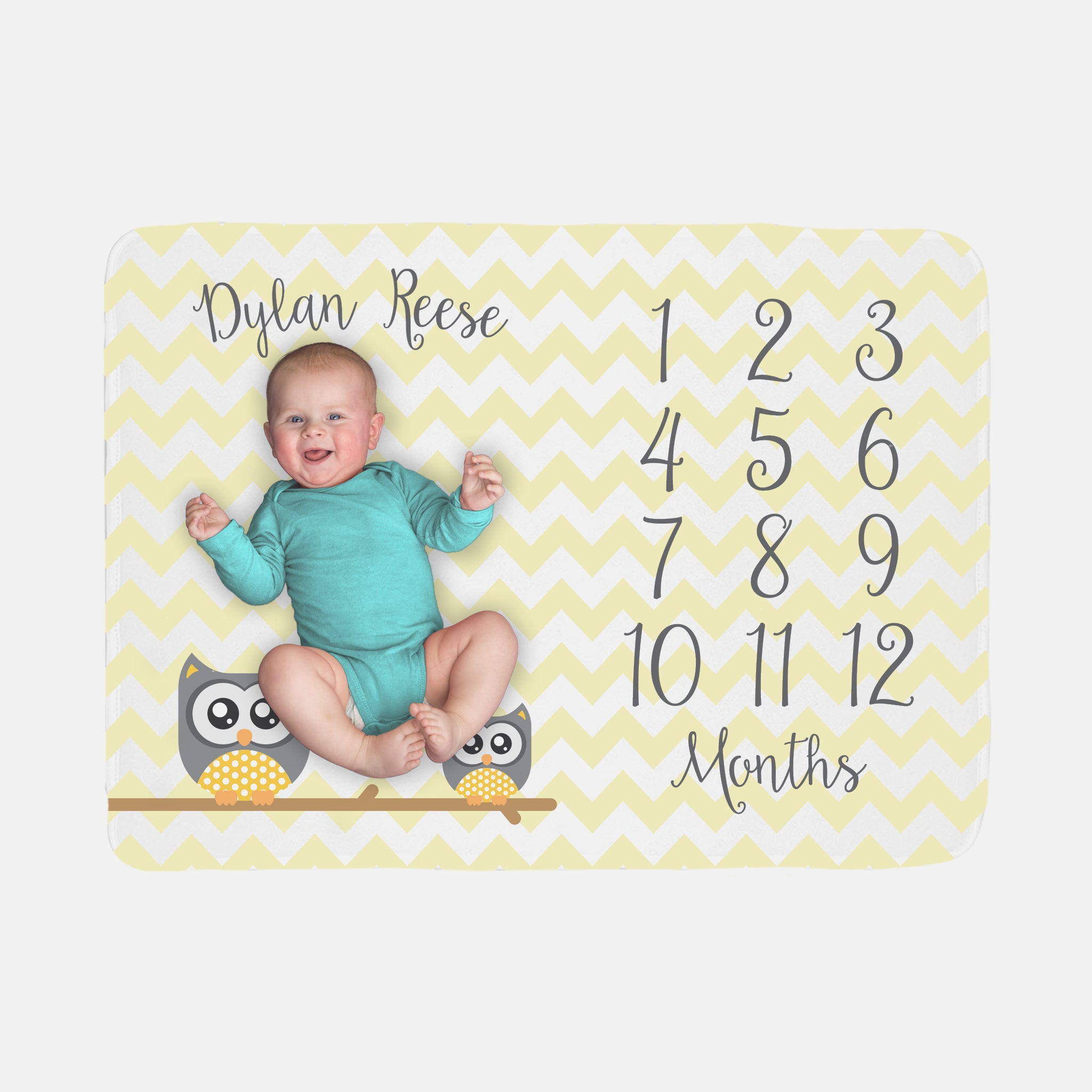 baby milestone blanket owl yellow gender neutral