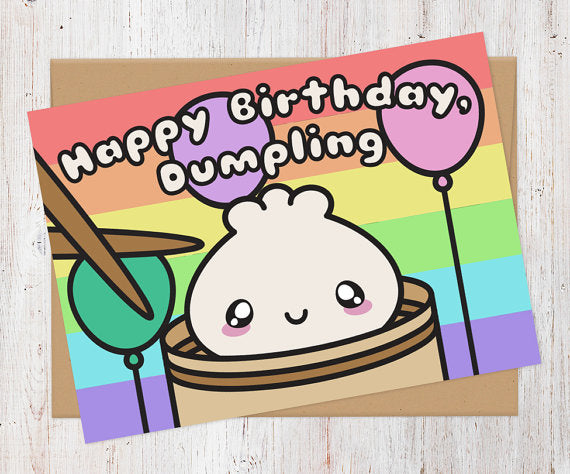Happy Birthday Dumpling Dim Sum Card