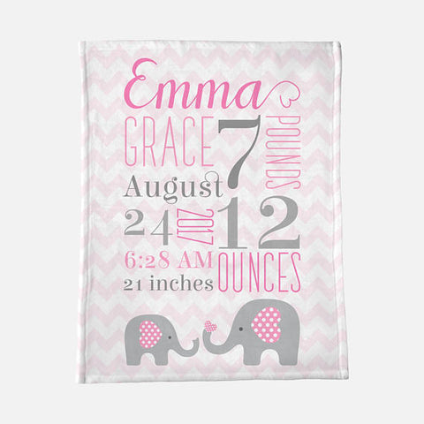 birth stats baby blanket personalized girl pink elephant