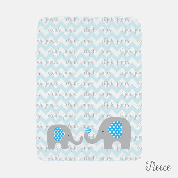 Personalized Baby Name Blanket | Blue Baby Boy Elephant Theme