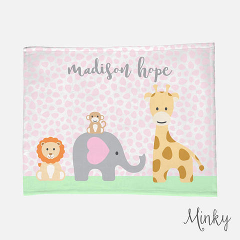 Personalized Baby Name Blanket | Pink Baby Girl Jungle Animal Theme