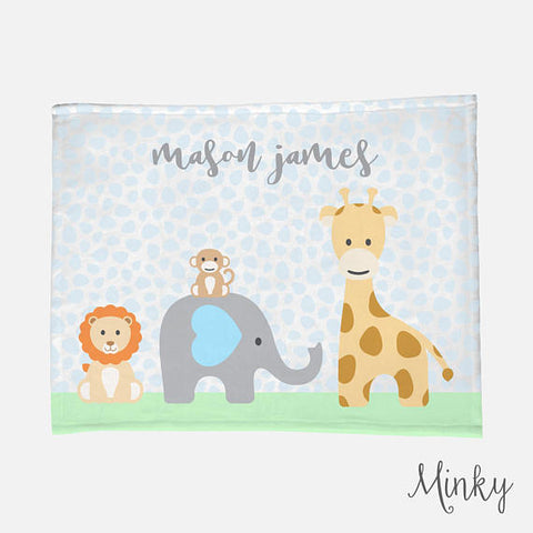 Personalized Baby Name Blanket | Blue Baby Boy Jungle Animal Theme