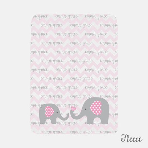 Personalized Baby Name Blanket | Pink Baby Girl Elephant Theme