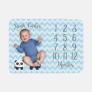 Baby Milestone Blanket | Blue Baby Boy Panda Theme - AlluringPrints