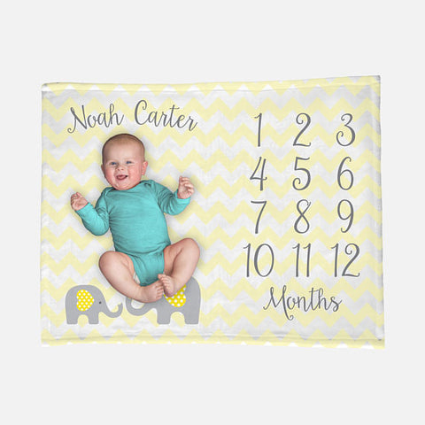 Baby Milestone Blanket | Yellow Gender Neutral Baby Elephant Theme