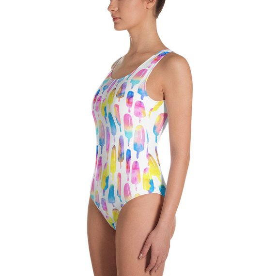 Popsicle Swimsuit Cute Summer Print One Piece Swimsuit Bright Cute Rainbow Leggings