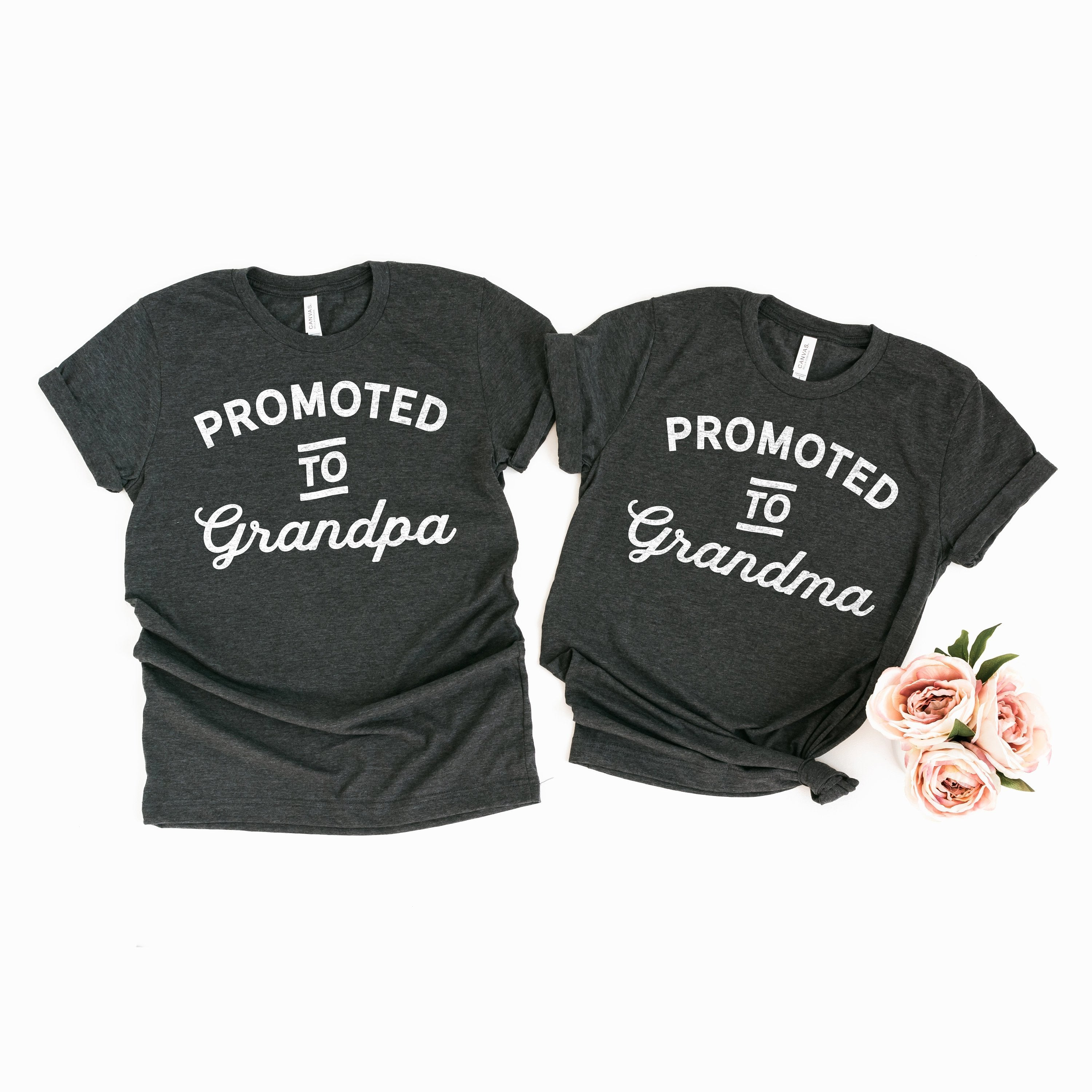 Pregnancy Announcement Shirts for New Grandparents Promoted to Grandma Shirt Promoted to Grandpa Shirt Grandparents to Be Shirts Pregnancy Announcement Parents