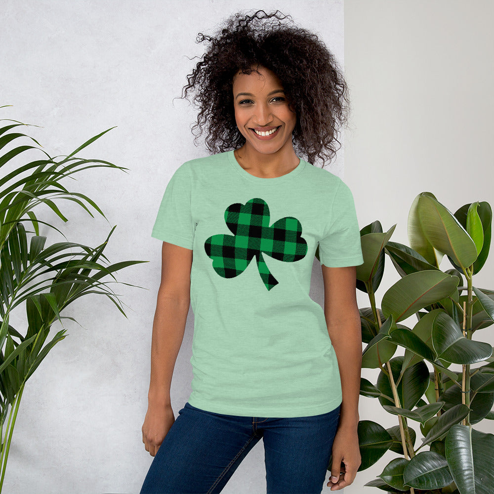 Buffalo Plaid Shamrock Shirt St. Patrick's Day Shirt Green Clover Shirt St. Paddy's Day Shirt for Women