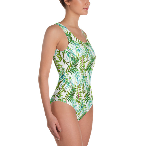 Tropical Leaves White One Piece Swimsuit Swimming Suit Women's Swimwear