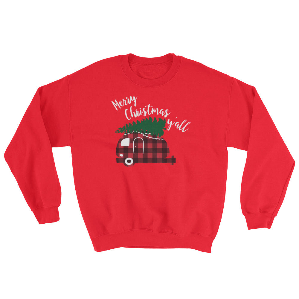 Merry Christmas Y'all Sweatshirt Christmas Camper Shirt Cute Christmas Sweatshirt Christmas Outfit Red Plaid Shirt Christmas Tree on Car Shirt Christmas Sweater