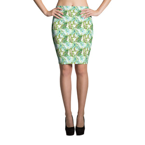 Tropical Leaves White Pencil Skirt Women Cute Bodycon Skirt