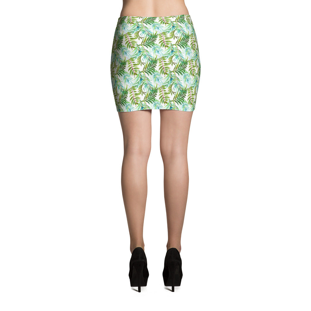 Tropical Leaves White Mini Skirt Women Cute Bodycon Skirt