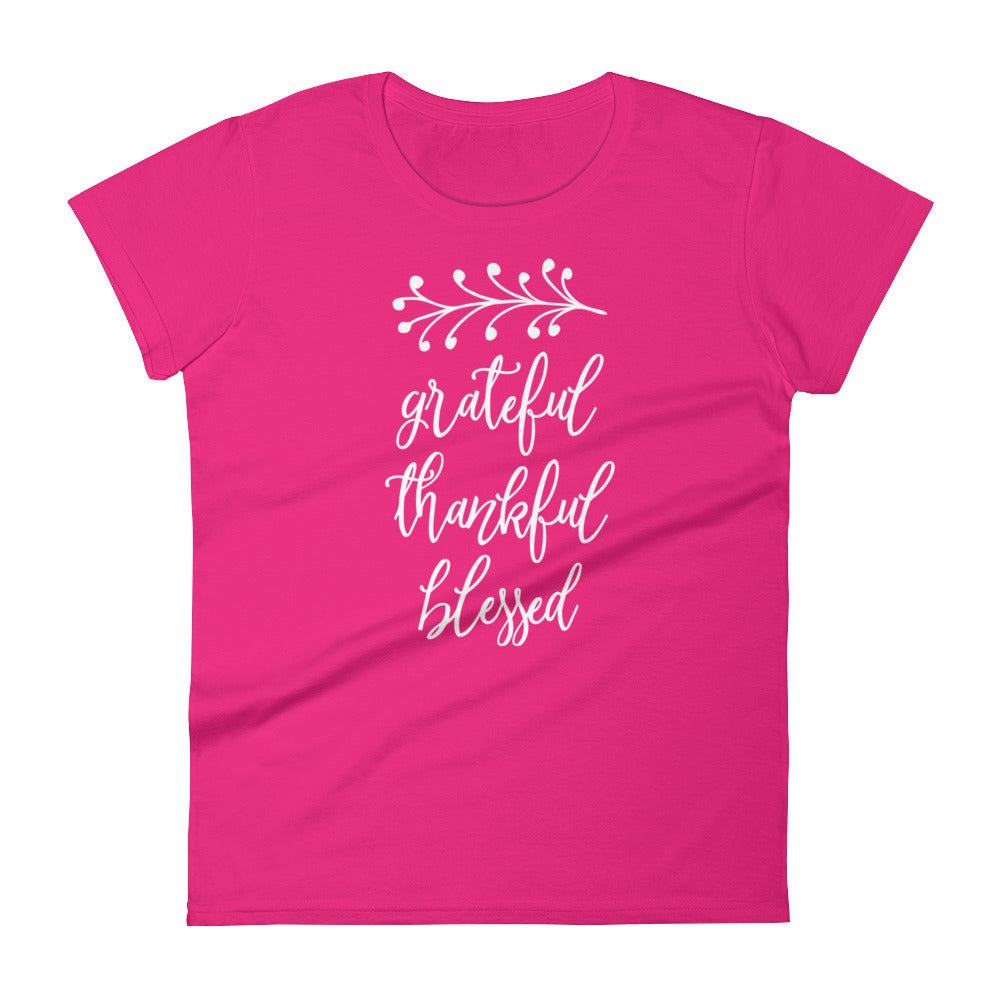 Grateful Thankful Blessed Women's Short Sleeve T-Shirt - AlluringPrints